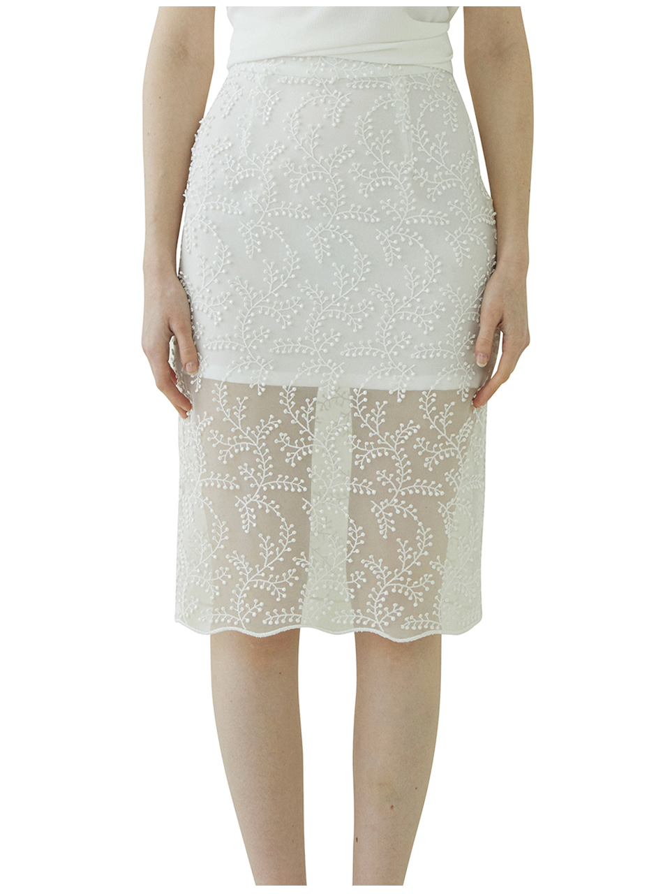 Bell Laced Long Skirt - ivory