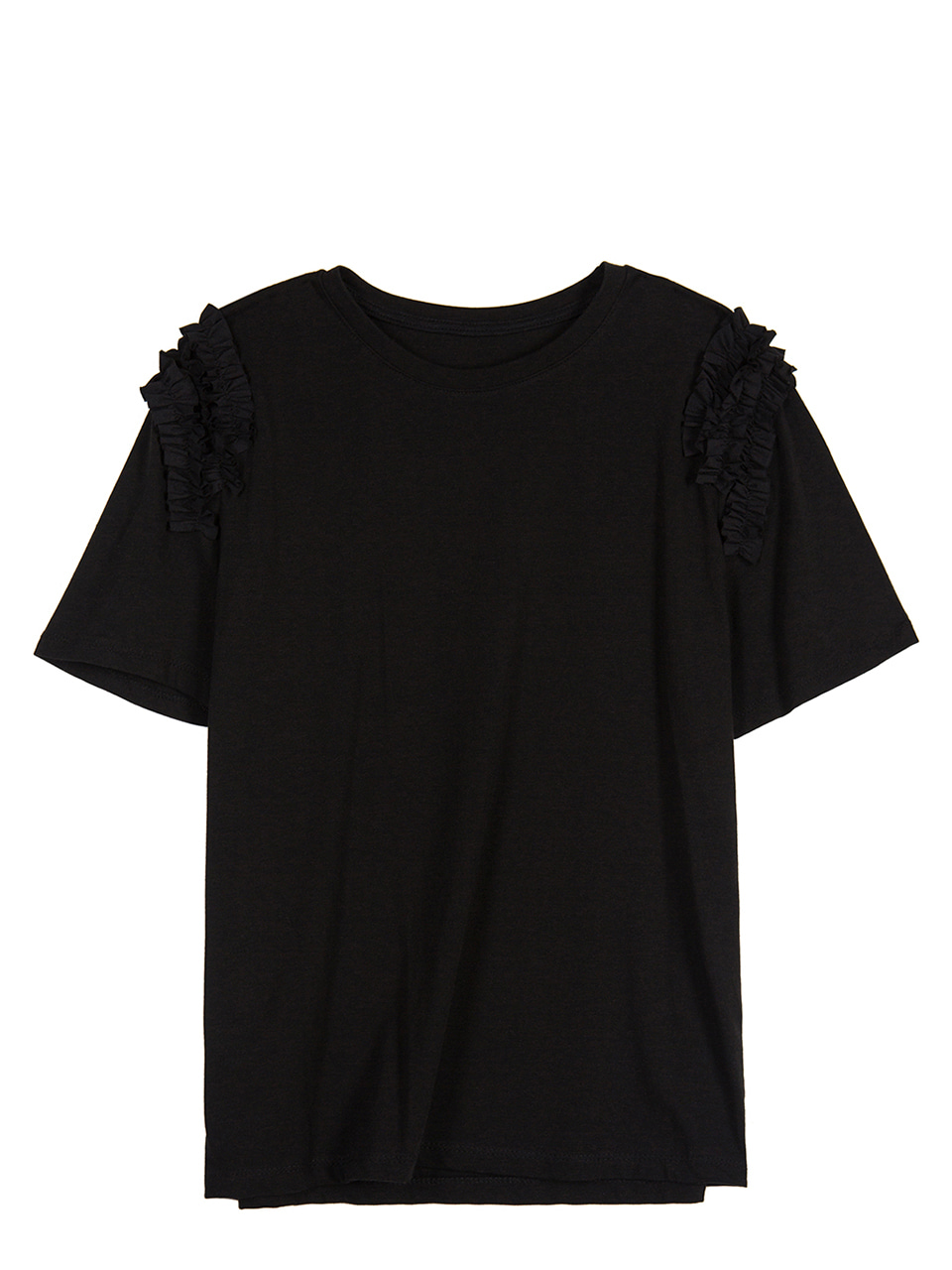Ruffle Shoulder T-shirts - black
