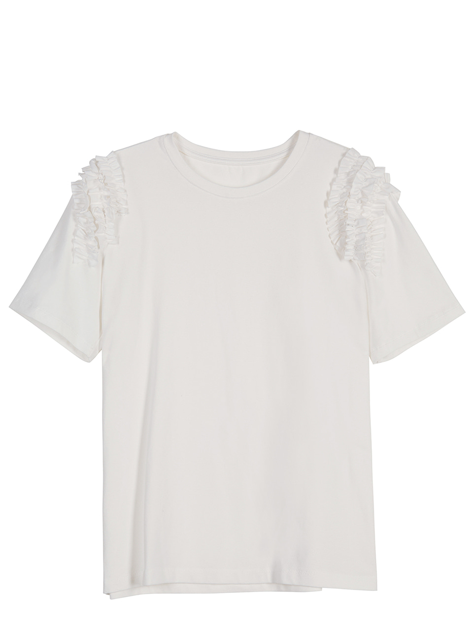 Ruffle Shoulder T-shirts - white