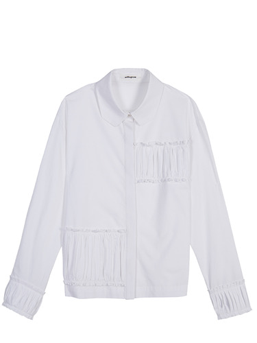 Partial Shirring Shirts - white