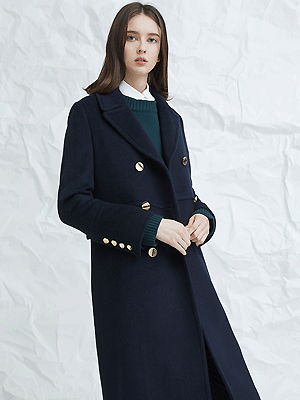 avec double breasted coat - navy
