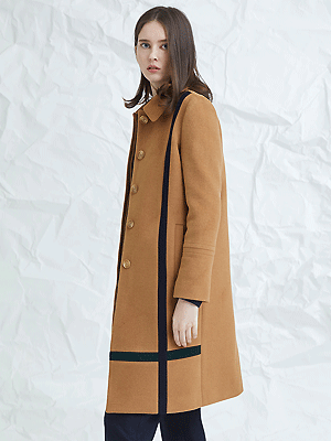 crossed color mac coat - beige
