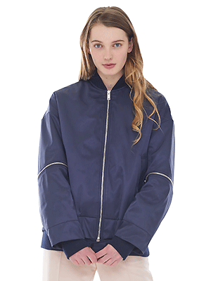 overlap bomber jacket_women - navy