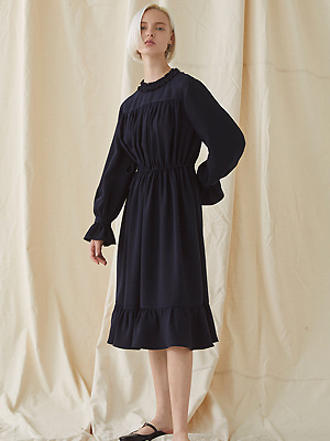 Strap Shirring Dress - navy