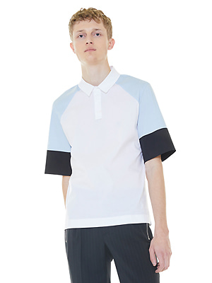 color blocking polo shirt - light blue