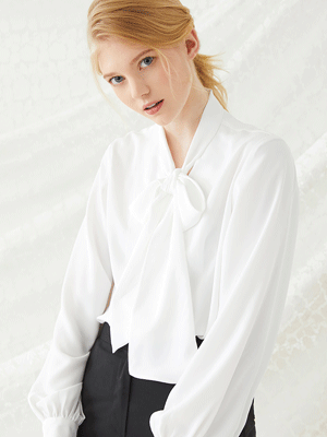 Scarf Tie Blouse - Ivory