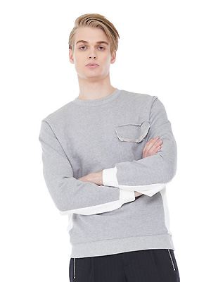 rip hem lined sweatshirts - gray