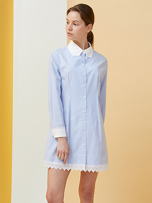 Polygon Collar Stripe Dress - blue