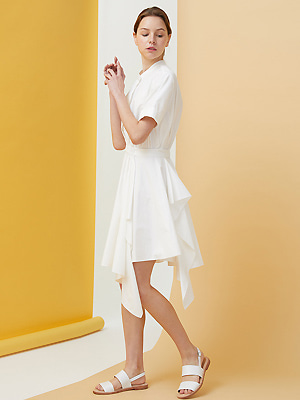 Draped Shirts Dress - white