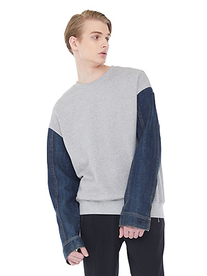 denim sleeve sweatshirts - gray