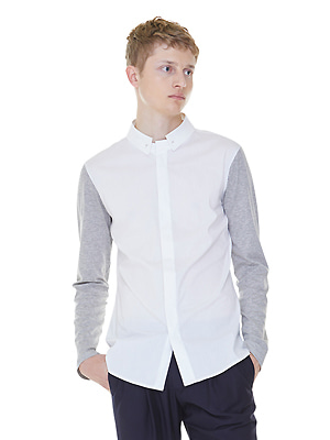 detachable collar shirts - white