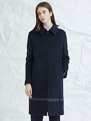 crossed color mac coat - navy