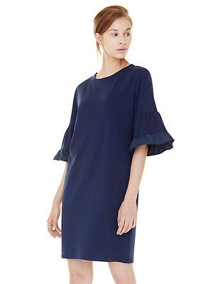 double sleeve chemise dress - navy