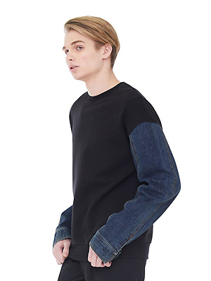 denim sleeve sweatshirts - black
