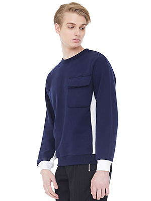 rip hem lined sweatshirts - navy