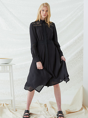 Lace Tag Dress - Black