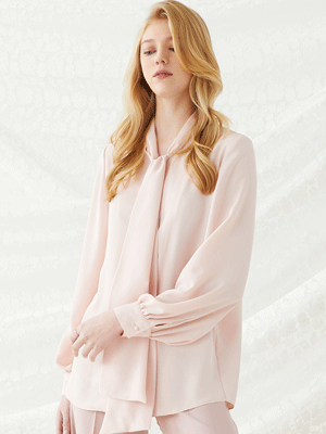 Scarf Tie Blouse - Pink