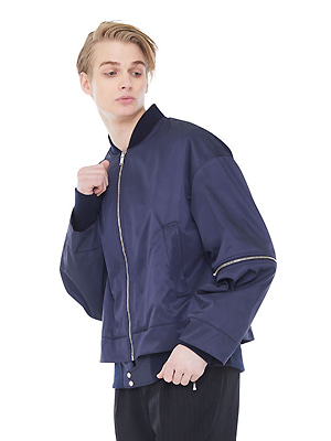 overlap bomber jacket_men - navy