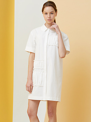 Polygon Collar Shirring Dress - white