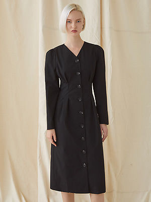 Puff Sleeve Long Dress - black