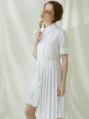 Partial Pleats Dress - Ivory