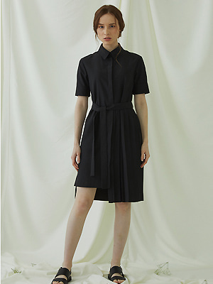 Partial Pleats Dress - black