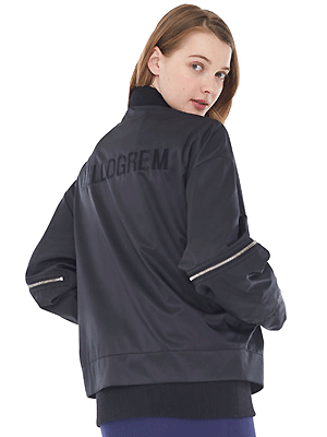 overlap bomber jacket_women - black