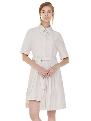 partial pleats shirts dress - beige
