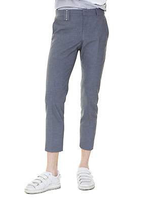 zippered belt loop slacks - charcoal