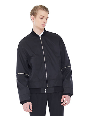 overlap bomber jacket_men - black