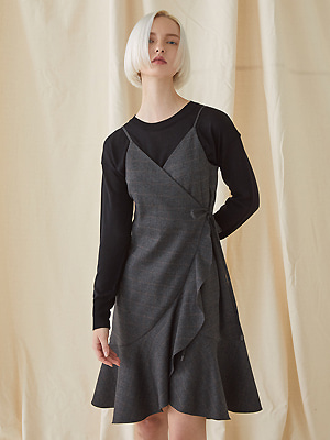 Check Bustier Dress - gray