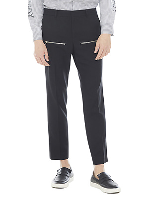 zipped line pants - black