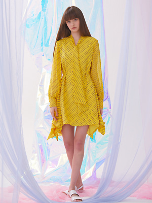 Flutter Scarf Tie Dress - Yellow
