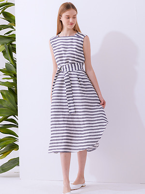 Striped Draped Dress - navy