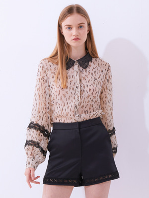 Lace Tag Blouse - Beige