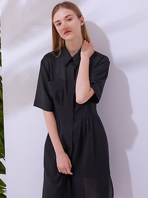 Slip Shirts Dress - Black