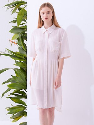 Slip Shirts Dress - Beige