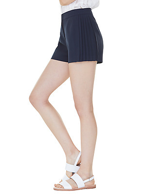 partial pleats shorts - navy