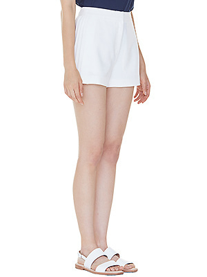 partial pleats shorts - ivory