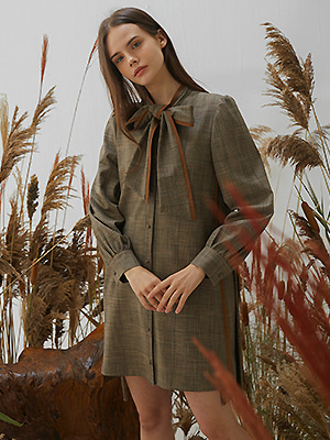 Suraun Check Tie Dress - Brown
