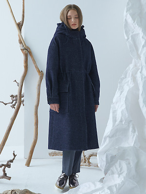 Lucell Hoodie Coat - Navy
