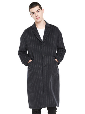 Over Fit Stripe Coat - Charcoal
