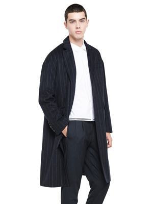 Over Fit Stripe Coat - Navy