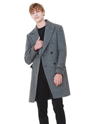 Herringbone Double Breasted Coat - Gray
