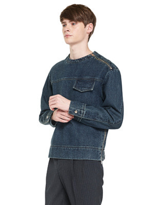 Bulky Denim Pullover - Dark Blue