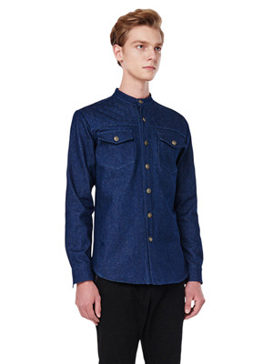Quilting Denim Shirts - Dark Blue