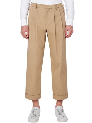 Double Pin Tuck Wide Pants - Beige