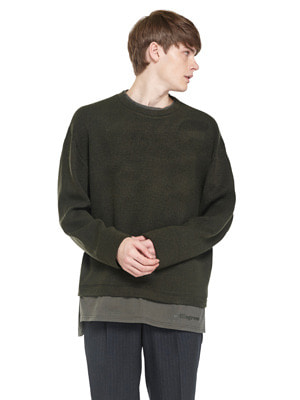 Knit Trickle Sweatshirts - Khaki