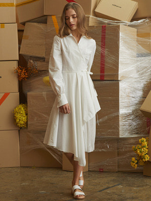Oblong Wrap Dress - White