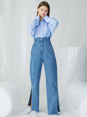 Scallop Slashed Pants - Light Blue